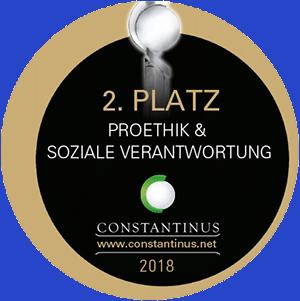 Plaktee des Constatinus Award 2018 2. Platz